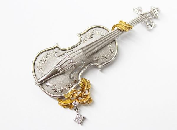 バイオリン ブローチ ダイヤ付