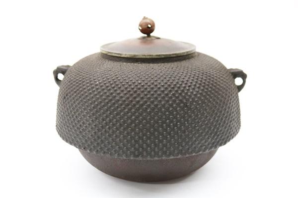 南部鉄器 茶釜 銅蓋 霰模様