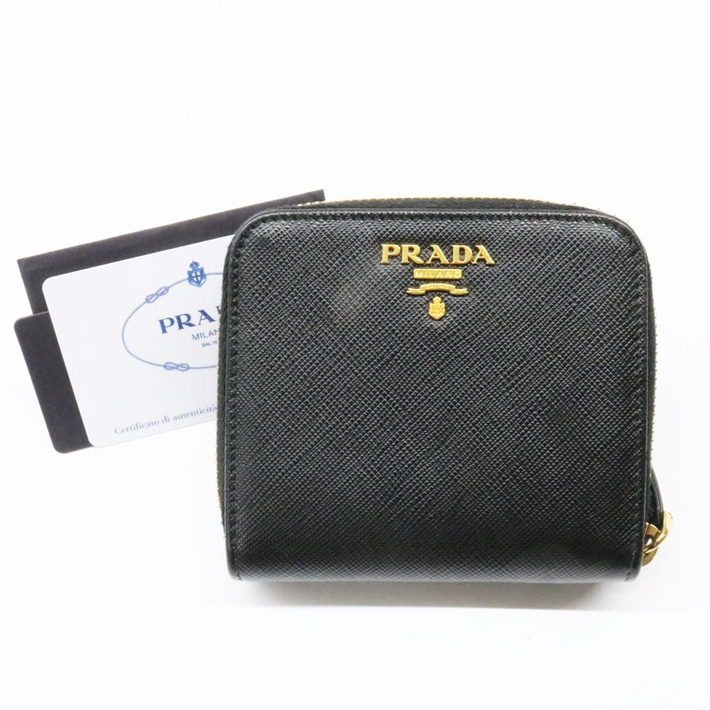 PRADA プラダ サフィアーノ メタル 二つ折り 財布 1ML522 ブラック