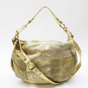 COACH コーチ シグネチャー 異素材 パッチワーク 切替 2way ショルダーバッグ 13709 ゴールド