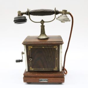 東京 沖電気株式会社 デルビル電話機 手回し式電話機 ハンドル式 木製