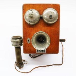デルビル電話機 沼津工場 昭和33年3月 手回し式電話機 壁掛け電話 ハンドル式 木製
