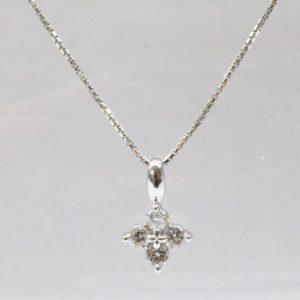 田崎真珠 K18WG ダイヤモンド 0.24ct ネックレス
