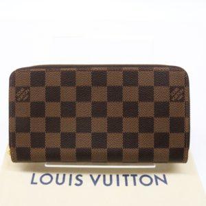 ルイヴィトン ジッピーウォレット N60046 ダミエエベヌ ローズバレリーヌ ラウンドファスナー 長財布