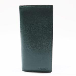 COACH コーチ スポーツカーフレザー ブレスト ポケット ウォレット F75009 グリーン 二つ折り 長財布
