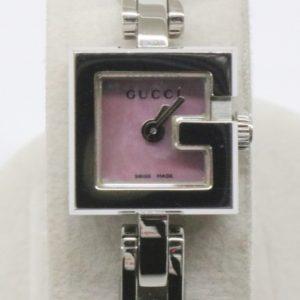 GUCCI グッチ Gミニ 腕時計 YA102538 クォーツ ピンクシェル スクエア Gロゴフェイス QZ シルバーカラー ブレスウォッチ 102