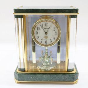 SEIKO セイコー 電波置時計 HW926G 蛇紋石 カットガラス 電波時計 置時計 メロディ時計
