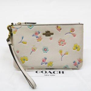COACH コーチ スモール リストレット ウォーターカラー フローラル C2846 ポーチ 花柄